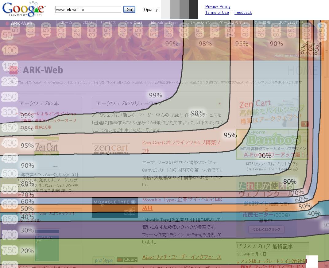 アークウェブのトップページ@Google Browser Size